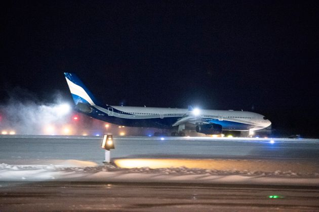 A plane carrying 176 Canadians from Wuhan, China, to Trenton, Ont., is seen here on Friday. The aircraft...