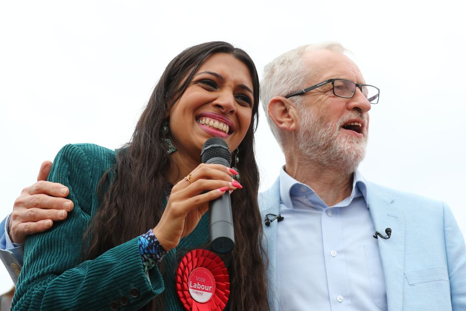 Faiza Shaheen with Jeremy Corbyn during the general election