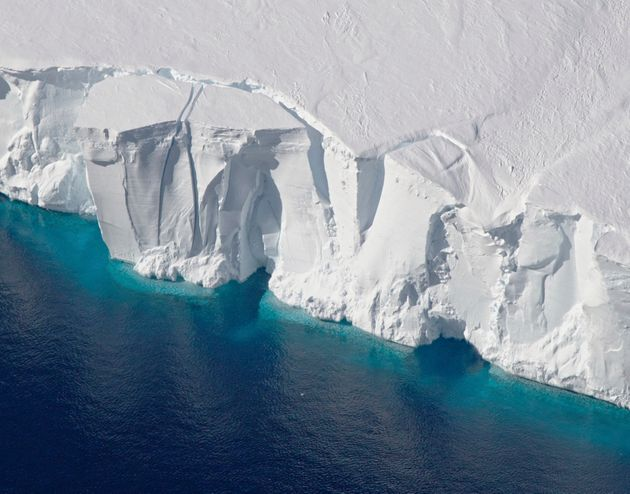 This 2016 photo provided by NASA shows the Getz Ice Shelf from 2016's Operation Icebridge in Antarctica....