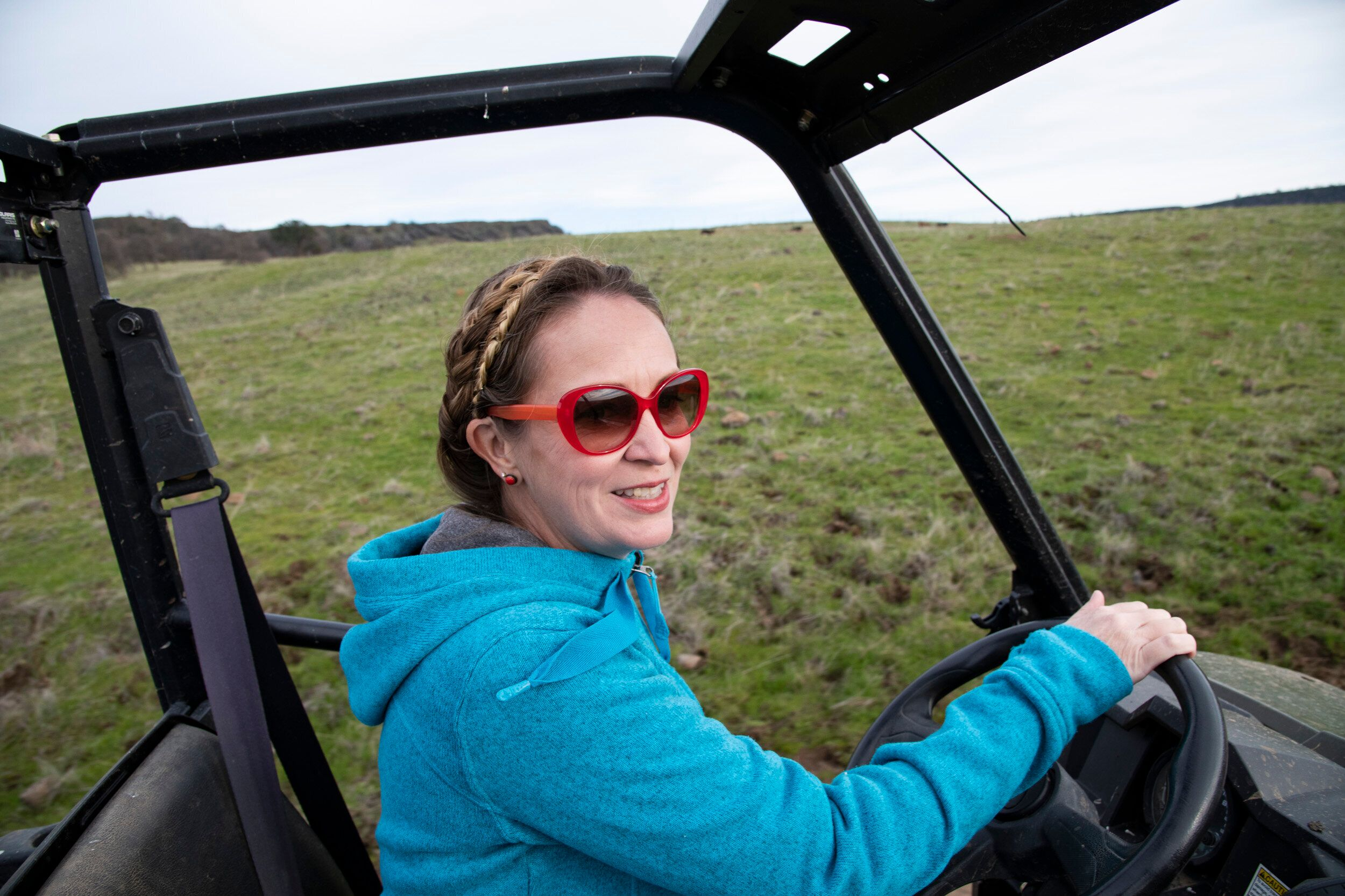 Brown drives on her ranch in Butte County.