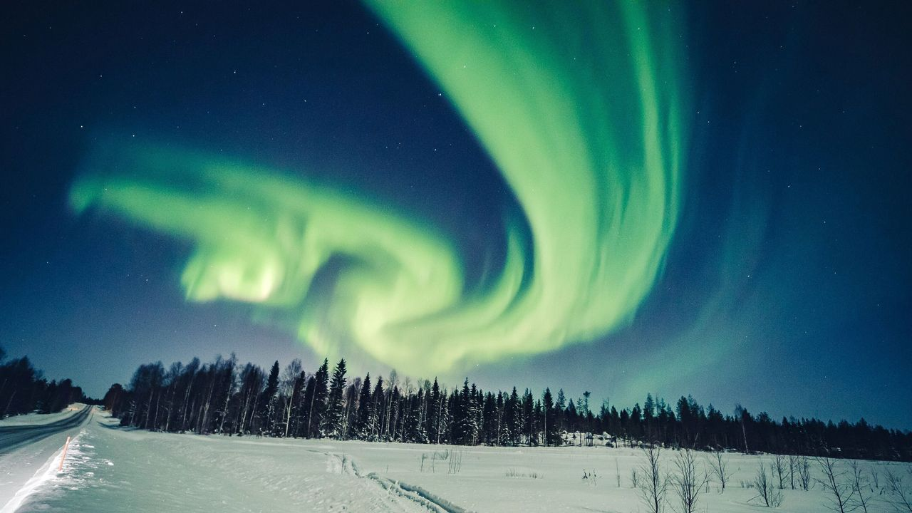 The aurora borealis is seen in the sky in Rovaniemi, Finland, on Feb. 6, 2020.