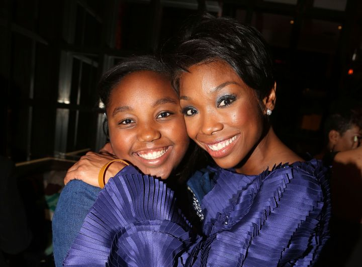"Brandy Norwood and her daughter, Sy'rai Iman Smith, in 2015 after Norwood's debut in ""Chicago"" on Broadway in New York."
