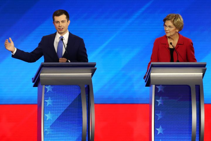 Former South Bend, Indiana, Mayor Pete Buttigieg and Sen. Elizabeth Warren (D-Mass.) participate in the Democratic presidenti