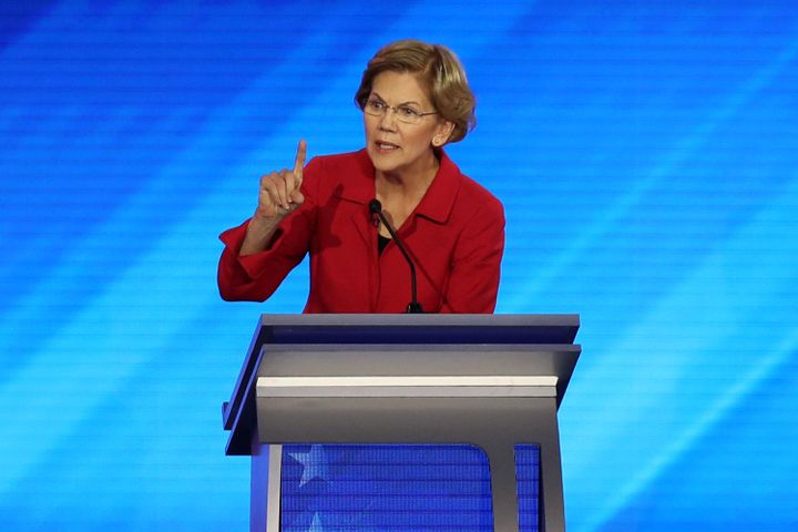 Democratic presidential candidate Sen. Elizabeth Warren (D-Mass.) participates in the Democratic presidential primary debate