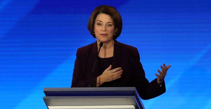 Sen. Amy Klobuchar (D-Minn.) participates in the Democratic presidential primary debate in the Sullivan Arena at St. Anselm C
