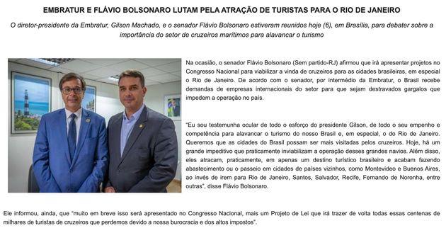 Matéria publicada e distribuída pela Embratur nesta sexta-feira (7) destaca Flávio