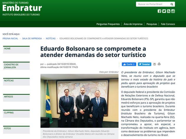 O filho 02 do presidente, deputado Eduardo Bolsonaro, também ganhou espaço de destaque...