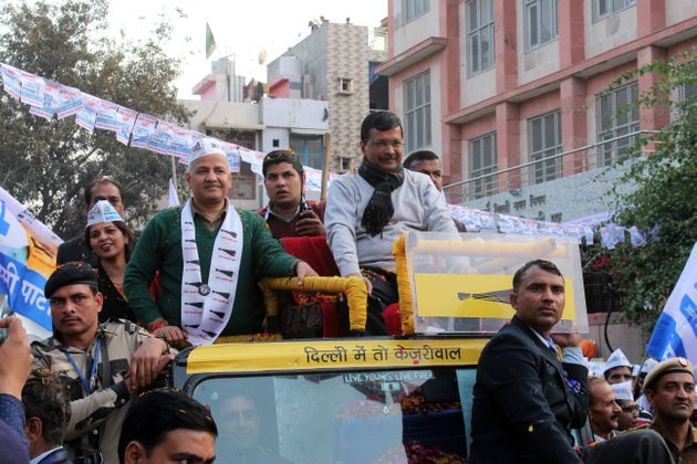 Delhi Chief Minister Arvind Kejriwal along with Deputy Chief Minister Manish Sisodia during a road show...