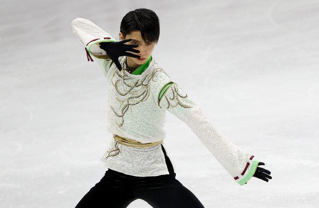 フィギュアスケート四大陸選手権の男子フリーで「SEIMEI」の曲に合わせて演技を披露する羽生結弦選手(2月9日撮影)
