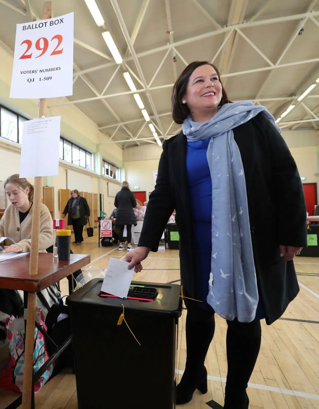 Sinn Fein President Mary Lou McDonald votes in the Irish General Election in Dublin, Ireland, Saturday...