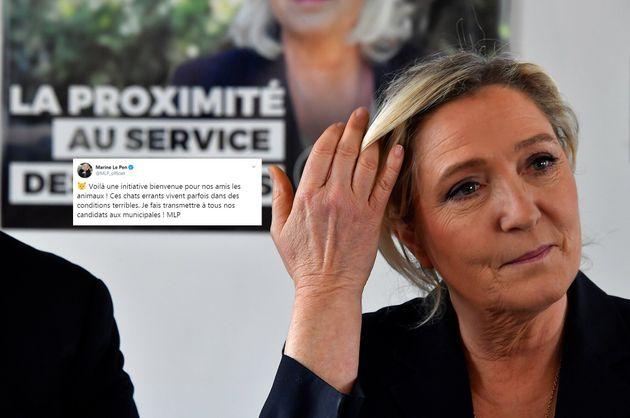 Marine Le Pen lors d'une conférence de presse à Cavignac le 8