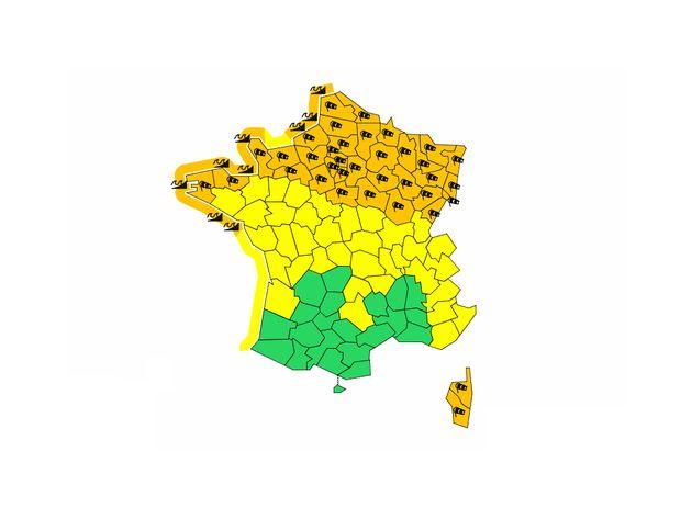 Météo France place 42 départements en alerte