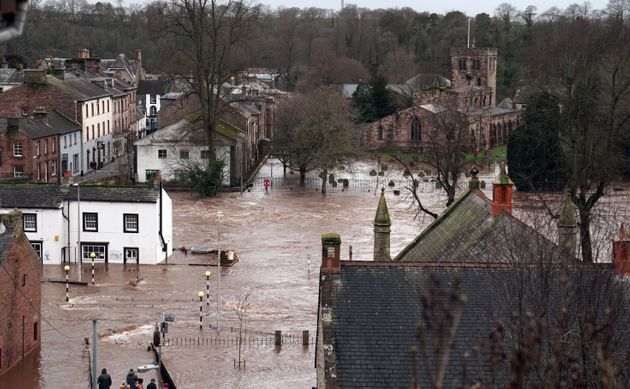 Flooded streets in Appleby-in-Westmorland, Cumbria, as Storm Ciara hits the