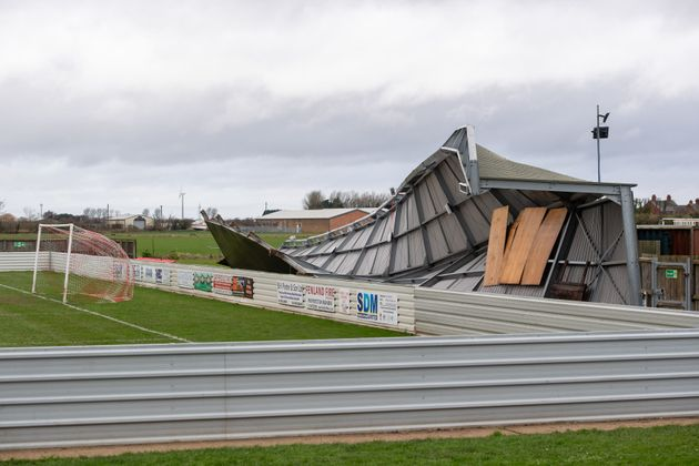 Damage to one of the stands at Wisbech Town Football Club in