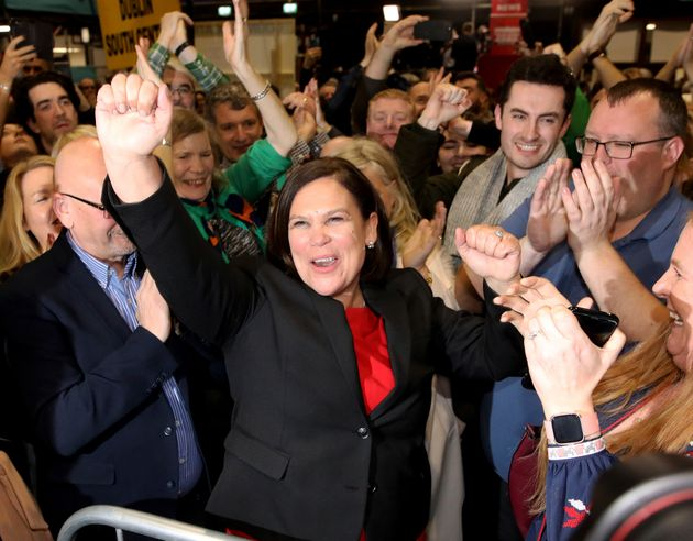 Sinn Fein leader Mary Lou McDonald celebrates with supporters after topping the poll in