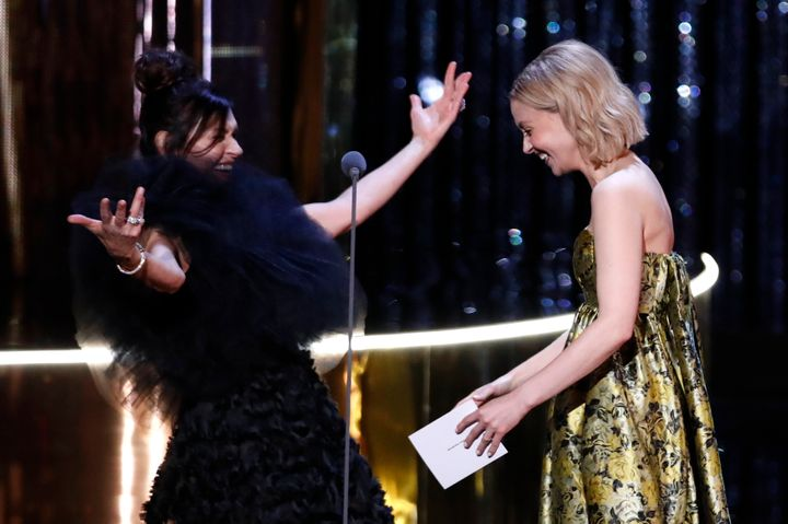Wendy Crewson and Sarah Gadon present an award at the Canadian Screen Awards in Toronto on March 31, 2019.