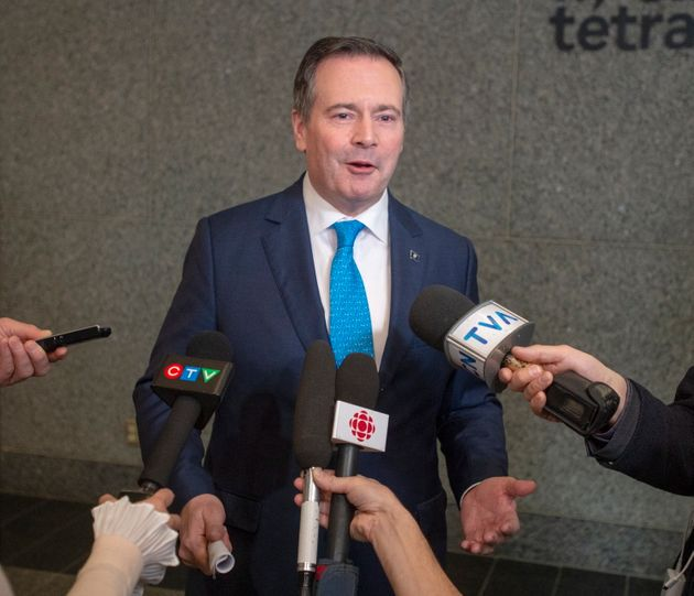 Alberta Premier Jason Kenney speaks to the media on Feb. 4 in