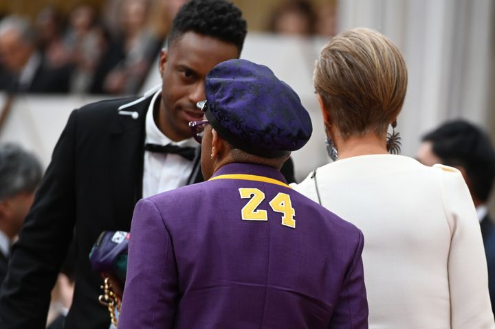 Lee arrives, wearing the number 24 on his jacket in remembrance of late NBA legend Kobe Bryant, for the 92nd Oscars at the Do