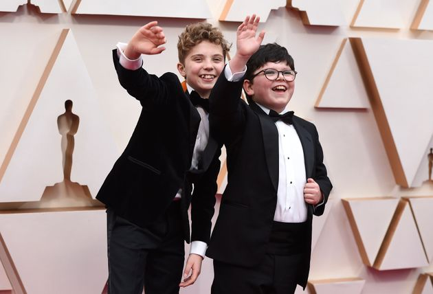 Roman Griffin Davis and Archie Yates having a blast in their Oscars red carpet