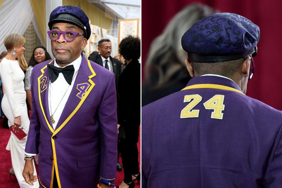 スパイク・リー監督。先月事故で亡くなった、元NBA選手コービー・ブライアント氏の背番号24を纏っていた