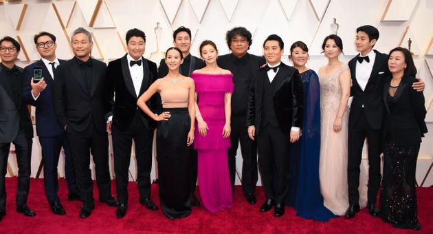 South Korean director Bong Joon-ho arrives with the cast and crew of