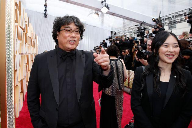 South Korean director Bong Joon-ho (L) of