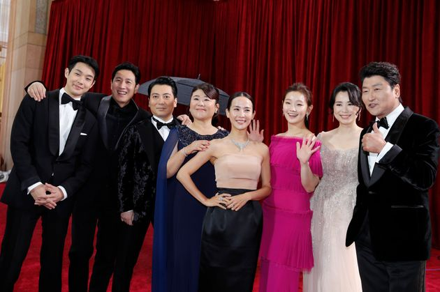 Parasite cast on the Oscars red carpet for the 92nd Academy Awards in Los Angeles, California, U.S.,...