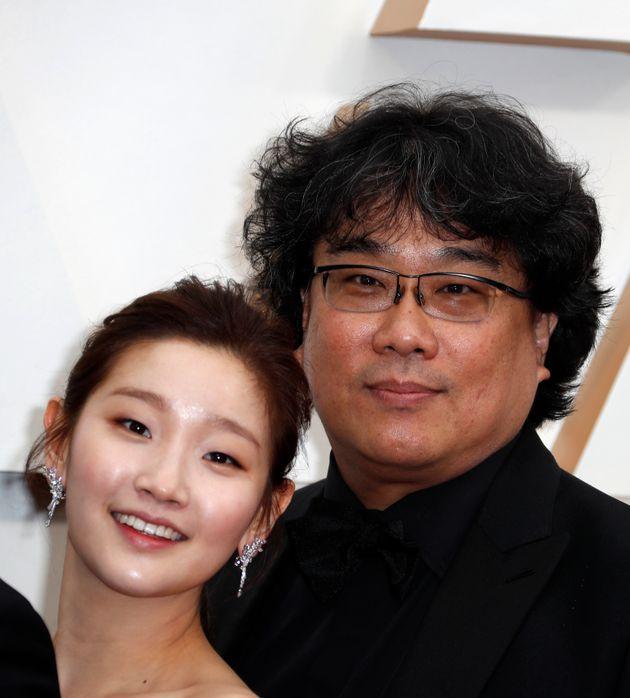 Park So-dam (L) and Bong Joon-ho, director of