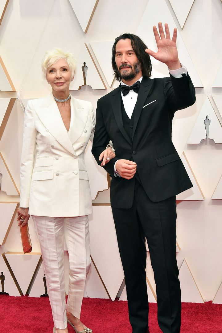 Patricia Taylor and Keanu Reeves attend the 92nd Annual Academy Awards at Hollywood and Highland on Feb. 9 in Hollywood, Cali
