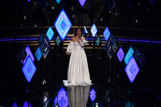 US actress-singer Idina Menzel performs onstage during the 92nd Oscars at the Dolby Theatre in Hollywood,...
