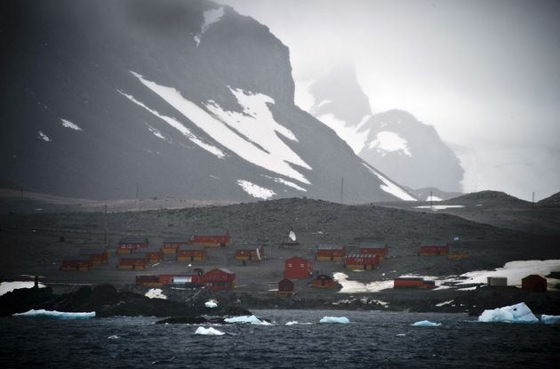 View of the Argentinian Esperanza military base from the Brazilian Navy's Oceanographic Ship Ary Rongel...