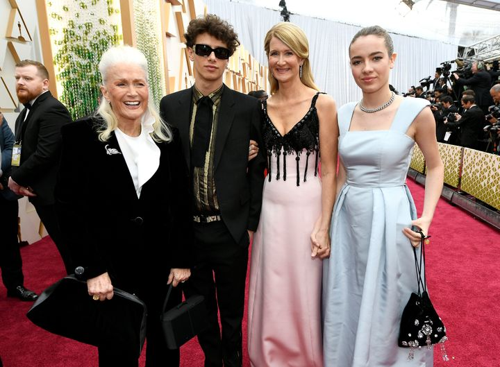 Laura Dern with her mother, Diane Ladd, and her kids Ellery Harper and Jaya Harper, at the Oscars on Sunday.