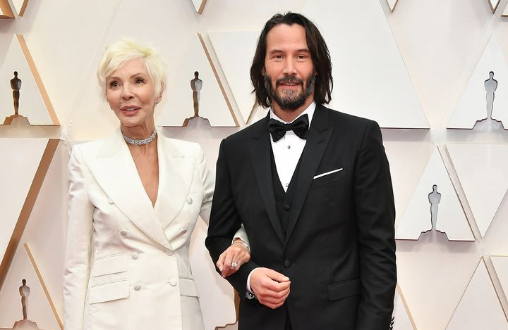 Keanu Reeves with his mother Patricia Taylor at the Oscars on Sunday.