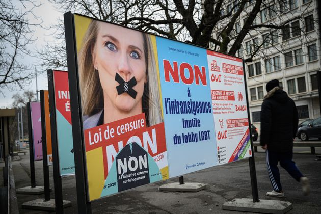 A campaign poster showing gagged Swiss MP Celine Amaudruz of right wing populist Swiss People's Party...
