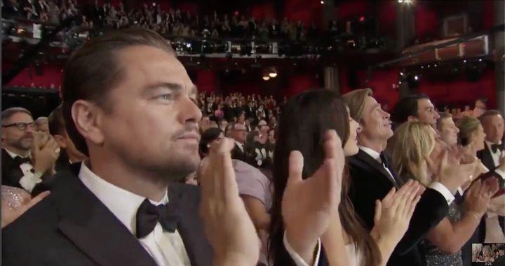 DiCaprio y su reacción a la actuación de Eminem.