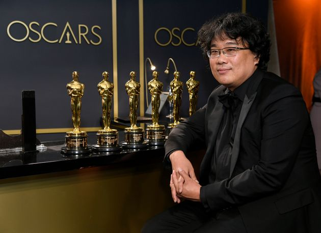 HOLLYWOOD, CALIFORNIA - FEBRUARY 09: Writer-director Bong Joon-ho, winner of the Best Picture, Director,...