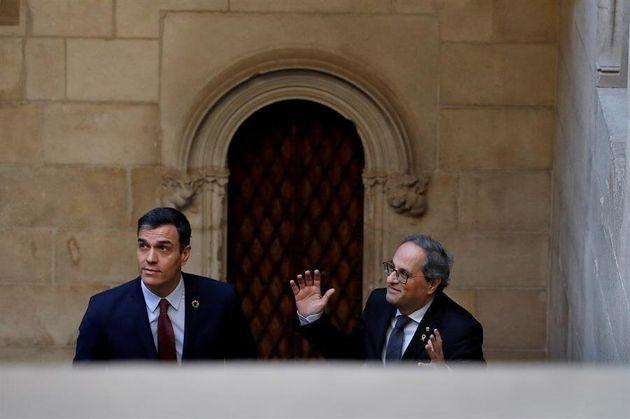 El presidente catalán, Quim Torra, y el presidente del Gobierno, Pedro