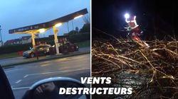 Rues inondées, arbres arrachés et toits envolés: les dégâts de la tempête Ciara en
