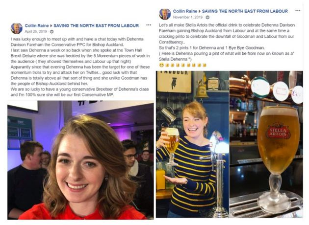 Images from a Facebook account thought to belong to Colin Raine, the left said to be after a meeting...