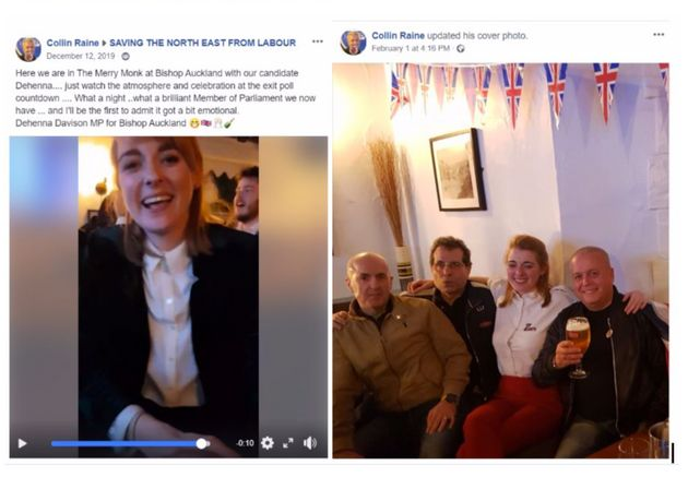 Left, a post Colin Raine made of Davison on election night and, right, Raine posing with Davison at a...