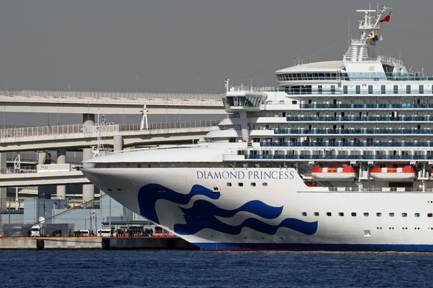 Princess Cruises' Diamond Princess cruise ship is seen here in Yokohama, Japan, on Monday. The vessel...