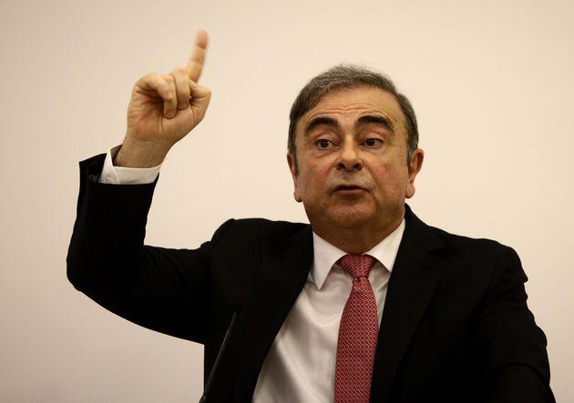 Carlos Ghosn, ici lors de sa conférence de presse donnée le 8 janvier 2020 à Beirut,...