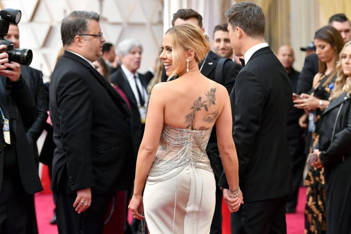 Scarlett Johansson attends the 92nd Annual Academy Awards.