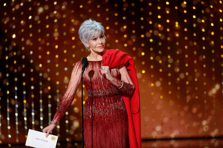 Jane Fonda turned up at the 2020 Oscars in a gown by Elie Saab. She carried the coat in which she's been arrested five times