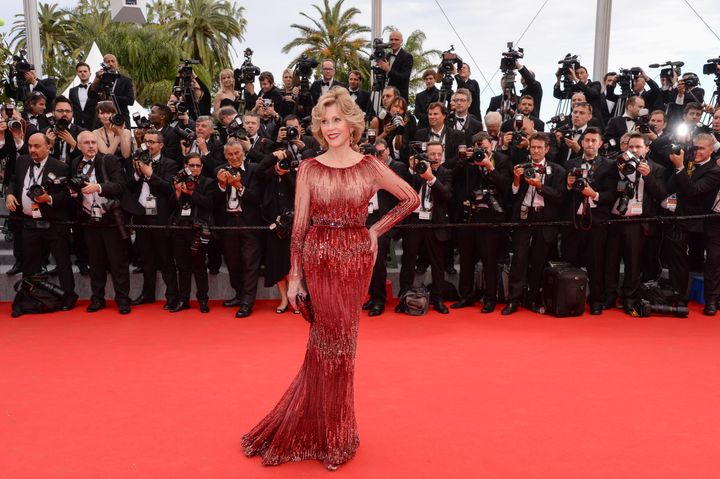"""Fonda debuted the gown at 2014 Cannes Film Festival for the """"Grace of Monaco"""" premiere."""