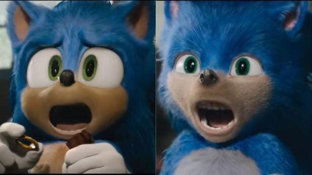 À gauche, le nouveau visuel du hérisson bleu. À droite, l'ancien visuel qui avait suscité la