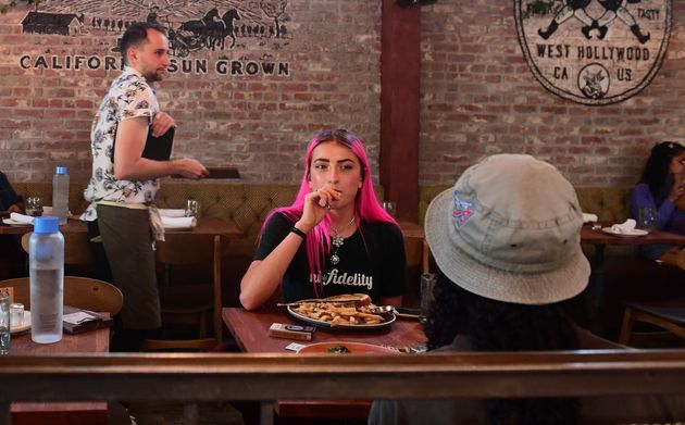 People dine at the Lowell Cafe, a cannabis restaurant in West Hollywood, Calif., Sept. 30, 2019. Ontario...