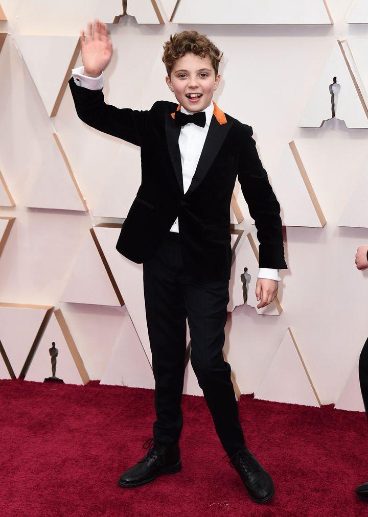 Roman Griffin Davis at the Oscars on Feb. 9, 2020.