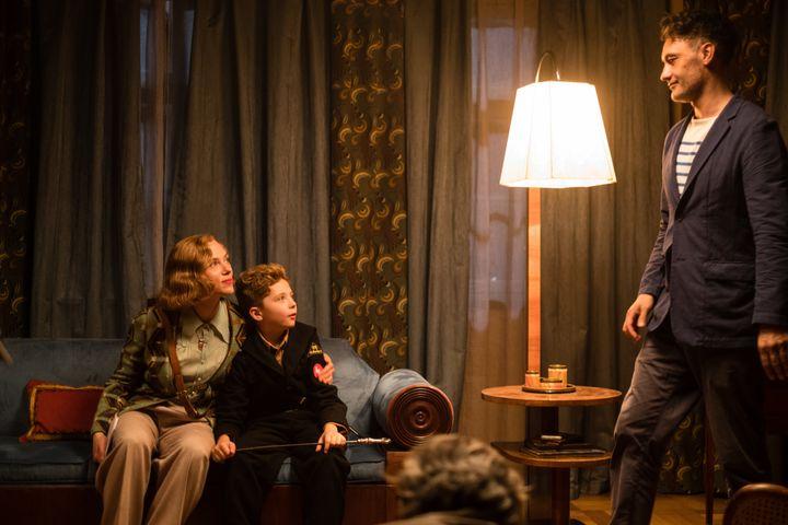 """Taika Waititi directing Scarlett Johansson and Roman Griffin Davis on the set of """"Jojo Rabbit."""""""