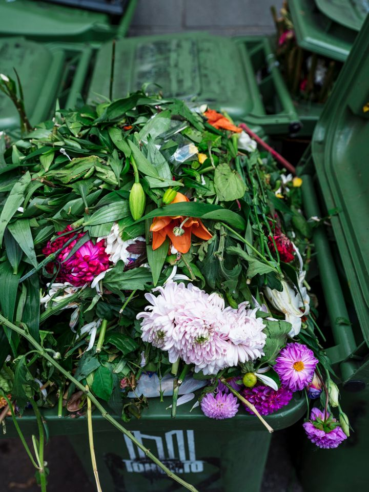 Flowers can actually be composted.